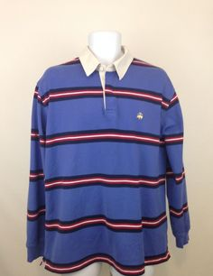 Men's L BROOKS BROTHERS Rugby Shirt 100% Cotton Multi-Color Striped Long Sleeve #BrooksBrothers #PoloRugby