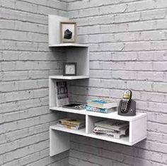 Trendy Home Office Tiny Bookshelves Ideas Wall Storage Shelves, Home Decor Shelves, Tv Wall Decor, Decorating Bookshelves, Wall Shelves Design, Diy Home Decor, Room Decor, Wall Design, Wall Art