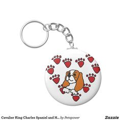 Cavalier King Charles Spaniel and Heart Art Key Chain