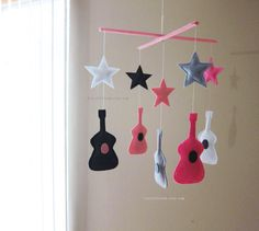 Baby Mobile  violin baby mobile  pink and grey by lovelyfriend