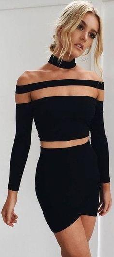 Black Two Piece Mini Dress                                                                             Source