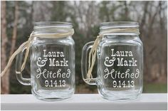 Personalized Mason Jars Etched Jar Set Of 2 Gl Mugs Country Wedding Bride Groom