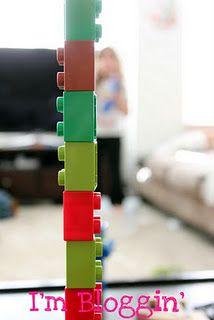 legos on their sides, lego binoculars, lego microphone, what else?