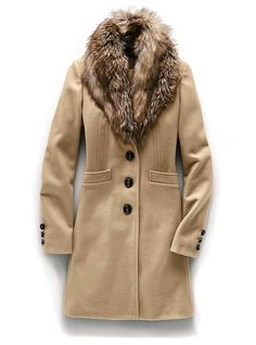 Removable faux-fur collar    Faux breast pocket    Front pockets    Back seaming    Buttons at sleeve    Fully lined    Dry clean    Imported wool/nylon        $188  #281-468