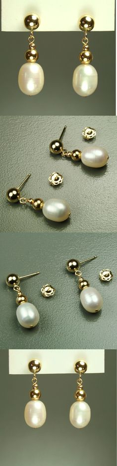 Pearl 10990: 14K Solid Yellow Gold 8X7mm Natural Freshwater White Pearl Stud Earrings -> BUY IT NOW ONLY: $39 on eBay!