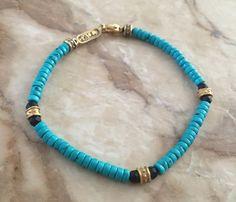 Bracelet - Golden Bronze Roundels & Turquoise by Roman Paul #romanpaul