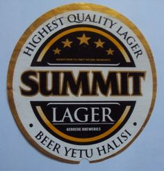 african beer   Summit Lager Beer Label Kenya