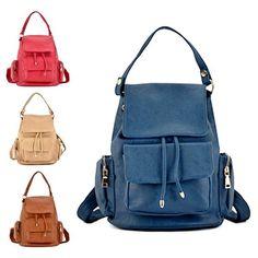 High Quality Leather Style Backpack Ladies Shoulder Bag Rucksack School Bag