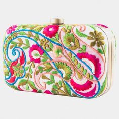 Handcrafted Raw Silk Multicolor Paisley Applique Clutch With Embroidery