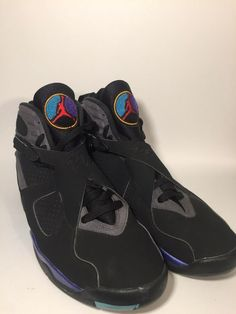 09b7b7f8543a2a Nike Air Jordan VIII 8 Retro Aqua Black Purple 305381 025 Size 12 Rare Hype