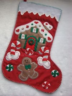 """GINGERBREAD HOUSE"" HAND~CRAFTED BUCILLA FELT 21""CHRISTMAS STOCKING~READY TO HANG"