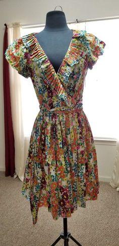 5bb2dccfe04 Double Zero Womens Dress Wrap Floral Print Size Medium Pleated Collar   DoubleZero  WrapDress  Casual