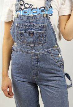 Buy & sell new, pre-owned & vintage fashion Denim Dungarees, Denim Overalls, Denim Jeans, Fashion Pants, 90s Fashion, Vintage Fashion, Vintage Denim, Jean Outfits, Overall Shorts