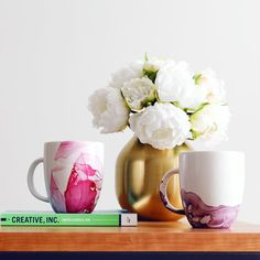 These mugs marbled with nail polish look like they've been painted with watercolors & so easy! Great gift for the holidays in 8 minutes!