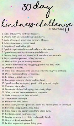 30 Day Kindness Challenge-- some ideas kid friendly Relation D Aide, Kindness Challenge, Happiness Challenge, Journal Prompts, Bible Journal, Better Life, Self Improvement, Self Help, Happy Life