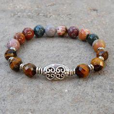 Tiger's Eye and Jasper Gemstone Wrist Mala Bracelet. #yoga #bracelet #jasper