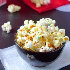 This popcorn is perfectly sweet and salty with white chocolate, cake mix and sprinkles.