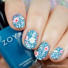 Wondrously Polished: The Planner Society - February Floral Washi Nail Art