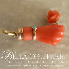 BELLA COUTURE ® - ANTIQUE Rare Georgian Victorian Carved Coral Hand Rose Flower  - Shop more fine antique Georgian & Victorian Fine Jewelry exclusively at www.BellaCouture.com