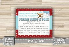 Bring Book Instead of a Card Winter Baby Shower - Baby Insert Card Monkey Snow - Insert Card for Invitation Winter - INSTANT DOWNLOAD - ms1 by DigitalitemsShop on Etsy