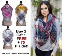 Gifts for her under 20 monogram scarf plaid scarf by WhereToGet