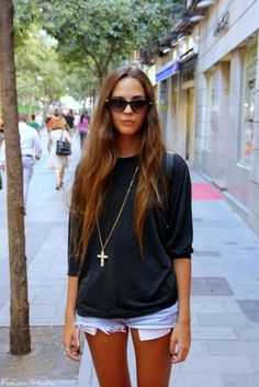 I like the short shorts and a long sleeved shirt thing with the long necklace... I am going to do this this summer!