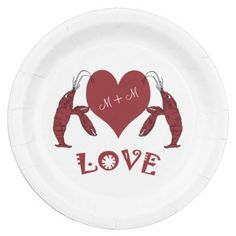 Two Crawfish Lobsters And Heart Paper Plates #crawfish #lobster #paperplates #cajunparty