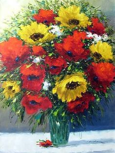 Christian Nesvadba, Sunflowers in Poppies      I love these colors!