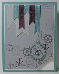 """Created with Stampin' Up! supplies: 3/8"""" stitched satin ribbon, Hello, Sailor stamp set, vellum cardstock, Gift of Kindness stamp set"""
