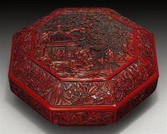 cinnabar | RARE CARVED CINNABAR LACQUER OCTAGONAL BOX AND COVER | MING DYNASTY ...