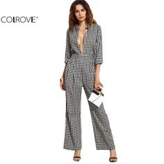 Deep V Neck Long Sleeve Plaid Sexy Work Wear Jumpsuit