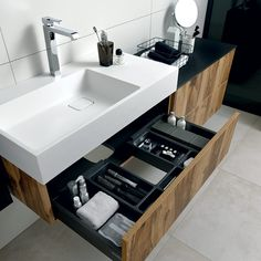 Top drawer with cutout for plumbing under bench Toilet And Bathroom Design, Master Bathroom Vanity, Toilet Design, Modern Bathroom Design, Bathroom Interior Design, Small Bathroom, Home Decor Furniture, Bathroom Furniture, Washbasin Design