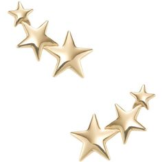 Kenneth Jay Lane Women's Star Climber Earrings - Gold ($39) ❤ liked on Polyvore featuring jewelry, earrings, accessories, gold, polish jewelry, gold and silver jewelry, polishing gold jewelry, gold jewellery and long gold earrings