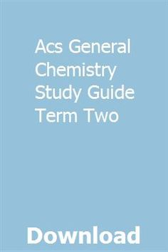 Acs General Chemistry Exam Pdf 2018