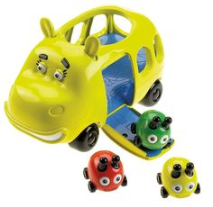 Fisher-Price Jungle Junction Hippobus Beetlebug Transport. Hippobus is ready to take the beetle bugs to school. She wobbles as you push her. Drop the beetle bugs in the open roof. Once they are ready to go, press the door release button and watch them fall out. Beetlebugs race in all directions.