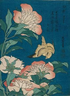 """Image from the """"Small Flower"""" series by Hokusai. It is a vintage century Japanese artwork of Hokusai. Fine art nature image of bird and flowers. Japanese Artwork, Japanese Painting, Japanese Prints, Chinese Painting, Japanese Art Modern, Japanese Design, Art Floral, Google Art Project, Art Asiatique"""