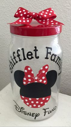 Disney Fund Jar by FleurDeLisaDesigns on Etsy Disney Disneyfund Dineyfundjar Disneyland Disney World Piggy Bank Mickey Money Minnie Mouse Mickey Mouse