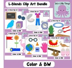 $ This bundled clip art set contains images for the l-blends; bl, cl, fl, gl, pl, and sl. Each blend has 4 unique images in three styles; color, black and white, and color with black outlines. There are 24 unique images and a total of 72 images. bl- bluebird, blackboard, block, blueberry, cl- clock, clothes, clam, cloud, fl- flamingo, flower, flag, flashlight, gl- glove, glue, globe, glasses, pl- plant, pliers, plank, plate, sl- sleigh, slug, sloth, slippers