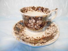 Antique Cup & Saucer Tea Leaf Pattern w/ Gold Trim very Old Signed Amberg Old #Amberg