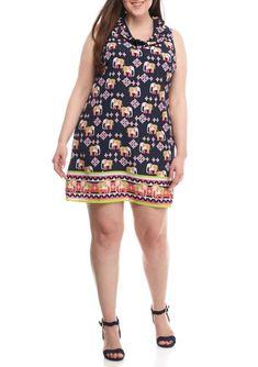 0a01a6ef6f8 Crown   Ivy Women Elephant Print Sleeveless Ruffle Neck Shift Dress Navy  Size 18