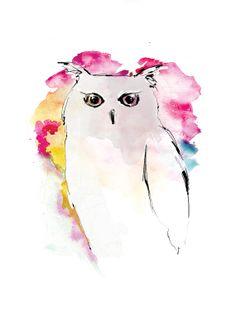 Illustration by Charlotta Larsdotter: Colorful owl.