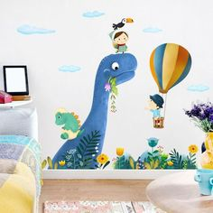 Dinosaur Kid's Bedroom Wall Decals - Trend Home Kids Room Wall Stickers, Wall Decals For Bedroom, Art Wall Kids, Dinosaur Kids Room, Dinosaur Nursery, Dinosaur Dinosaur, Room Wall Painting, Kids Room Paint, Kids Room Murals