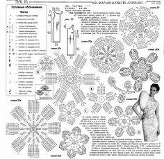 Wedding dress made entirely in crochet. ~ Artesanatos e Crochet Freeform Crochet, Crochet Motif, Crochet Flowers, Knit Crochet, Doilies Crochet, Zhurnal Mod, Cardigan Au Crochet, Crochet Shirt, Irish Crochet Patterns