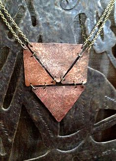 Geometric Necklace Bib Necklace Copper by DeerGirlDesigns on Etsy, $42.00