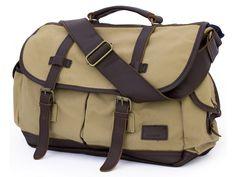 "High-End Canvas & Leather Student Travel Messenger Bag - 17"" Laptop"