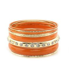 "Fashion Bangle Bracelet ; 2.75"" Diameter; Orange with Gold Metal; Clear Rhinestones; Eileen's Collection. $24.99"