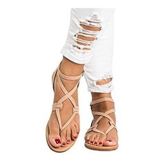 99247efc0de67 online shopping for LAICIGO Womens Flip Flops Buckle Strap Summer Beach Flat  Gladiator Sandals Crisscross Heels from top store. See new offer for  LAICIGO ...