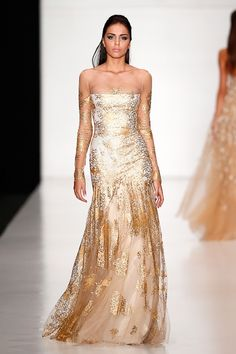 White and Gold Wedding. Gold Bridesmaid Dress. Soft and Romantic. Tony Ward by Atelier Crocus Couture Spring 2014 Collection