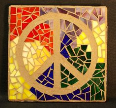 Mosaic Peace Sign by AimESmith on Etsy, $45.00