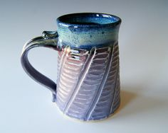 Pottery Coffee Mug, Handmade Wheel Thrown Pottery Ceramic Clay in Lavender Black and Blue by RiverStone Pottery